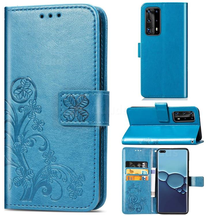 Embossing Imprint Four-Leaf Clover Leather Wallet Case for Huawei P40 Pro - Blue