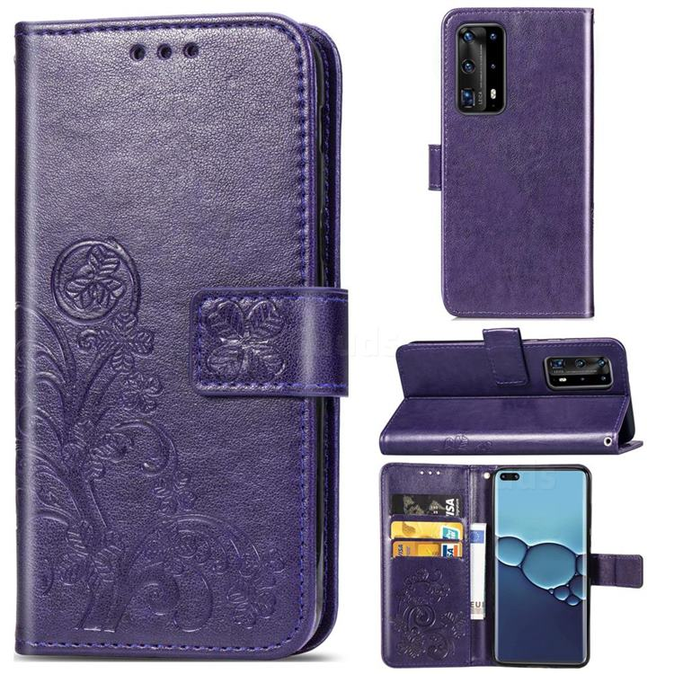 Embossing Imprint Four-Leaf Clover Leather Wallet Case for Huawei P40 Pro - Purple