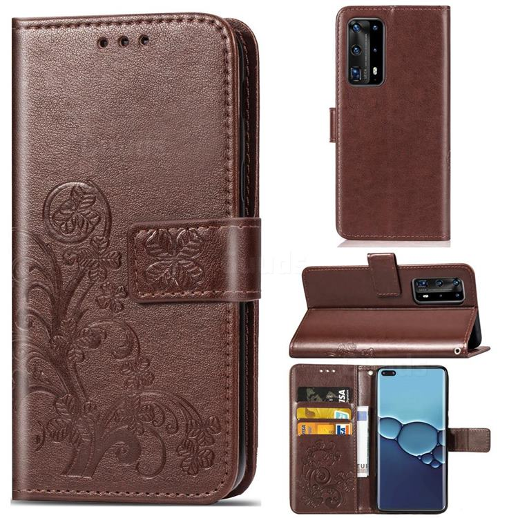 Embossing Imprint Four-Leaf Clover Leather Wallet Case for Huawei P40 Pro - Brown