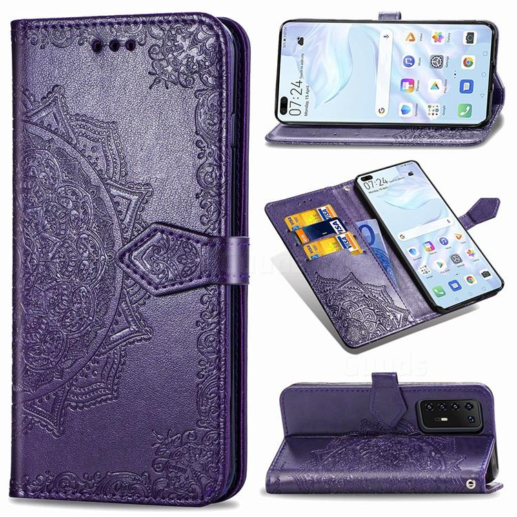 Embossing Imprint Mandala Flower Leather Wallet Case for Huawei P40 Pro - Purple