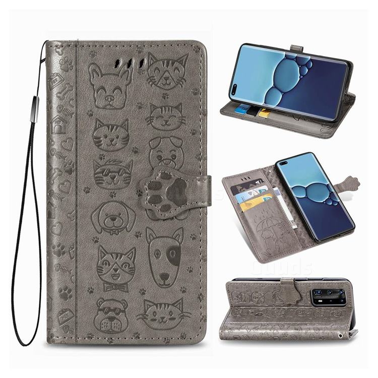 Embossing Dog Paw Kitten and Puppy Leather Wallet Case for Huawei P40 Pro - Gray