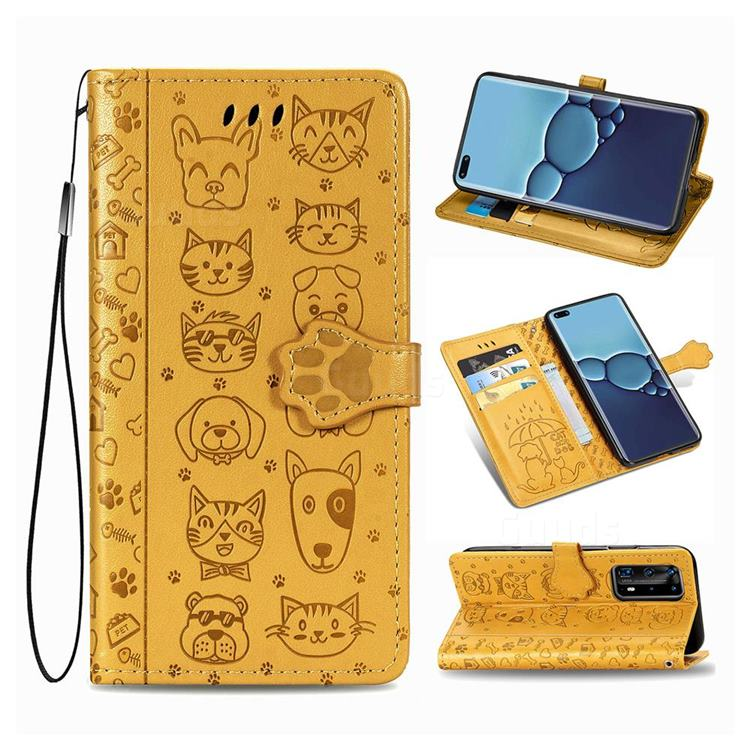 Embossing Dog Paw Kitten and Puppy Leather Wallet Case for Huawei P40 Pro - Yellow