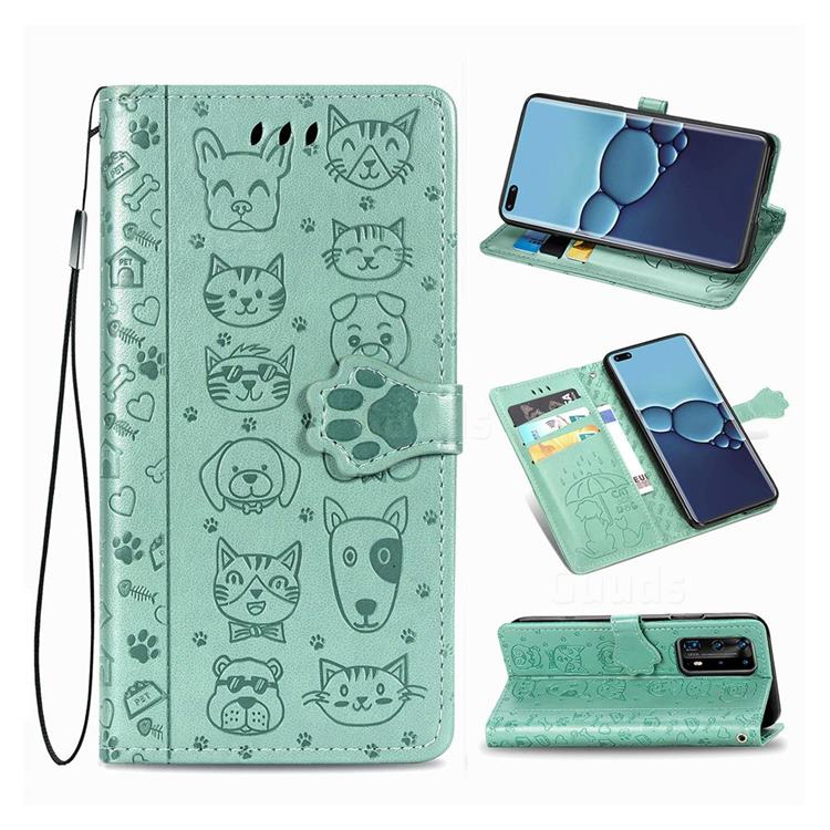 Embossing Dog Paw Kitten and Puppy Leather Wallet Case for Huawei P40 Pro - Green