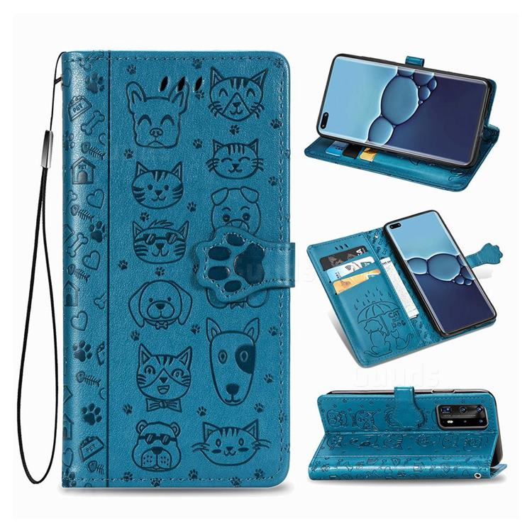 Embossing Dog Paw Kitten and Puppy Leather Wallet Case for Huawei P40 Pro - Blue