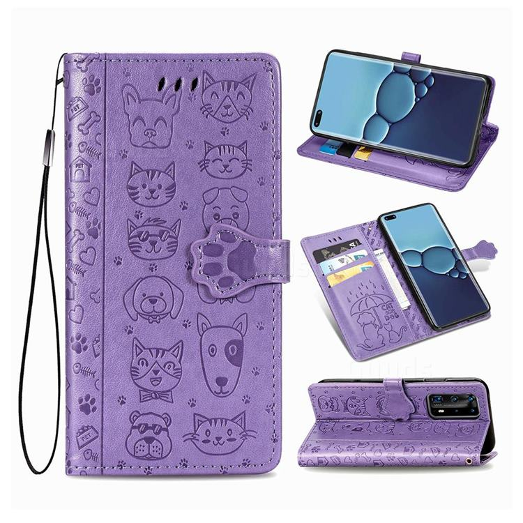 Embossing Dog Paw Kitten and Puppy Leather Wallet Case for Huawei P40 Pro - Purple