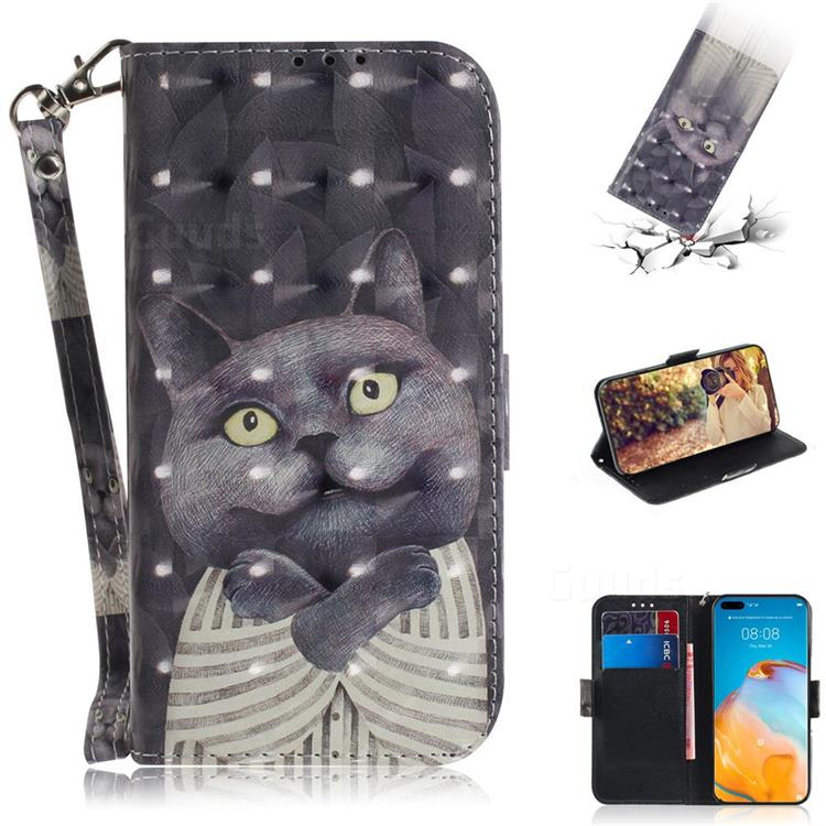 Cat Embrace 3D Painted Leather Wallet Phone Case for Huawei P40 Pro