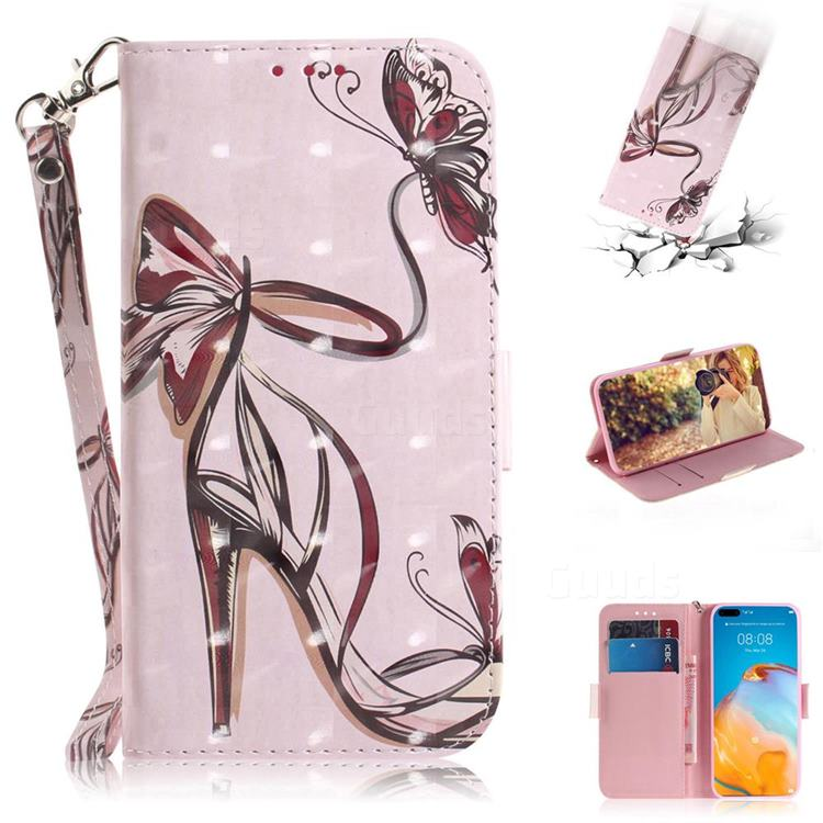Butterfly High Heels 3D Painted Leather Wallet Phone Case for Huawei P40 Pro