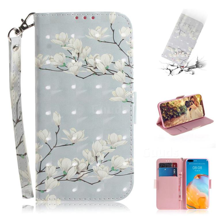 Magnolia Flower 3D Painted Leather Wallet Phone Case for Huawei P40 Pro