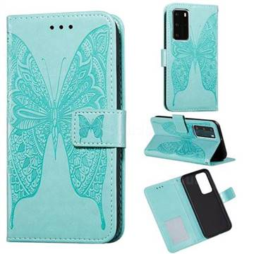 Intricate Embossing Vivid Butterfly Leather Wallet Case for Huawei P40 Pro - Green