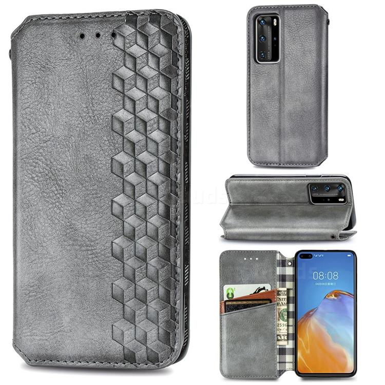 Ultra Slim Fashion Business Card Magnetic Automatic Suction Leather Flip Cover for Huawei P40 Pro - Grey