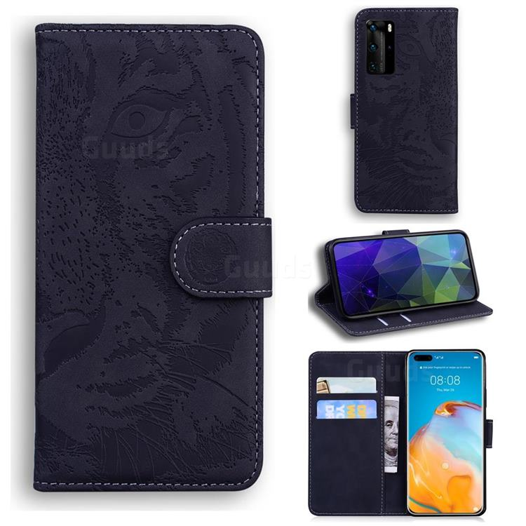 Intricate Embossing Tiger Face Leather Wallet Case for Huawei P40 Pro - Black