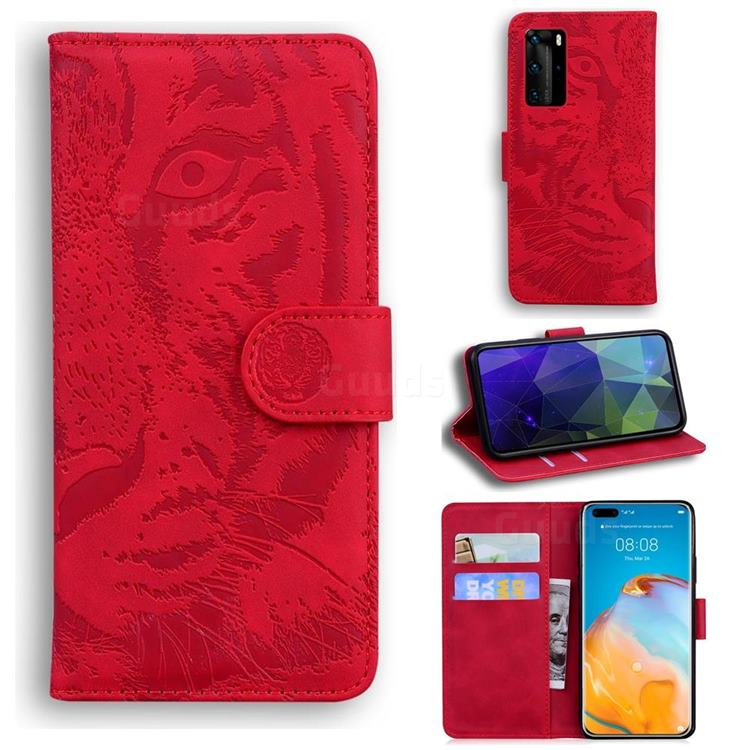 Intricate Embossing Tiger Face Leather Wallet Case for Huawei P40 Pro - Red