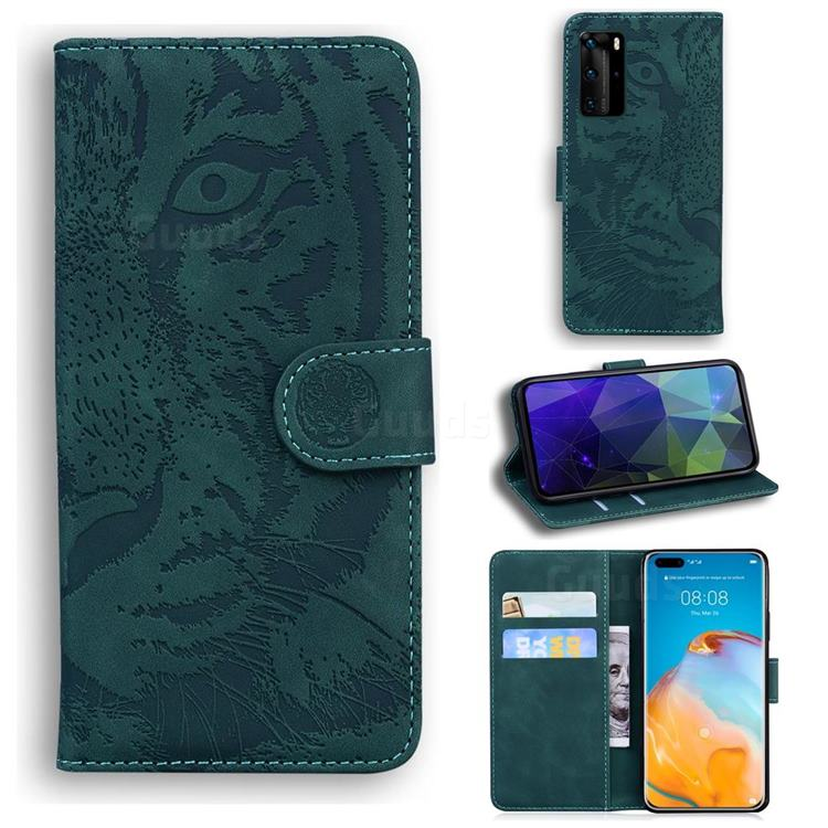 Intricate Embossing Tiger Face Leather Wallet Case for Huawei P40 Pro - Green