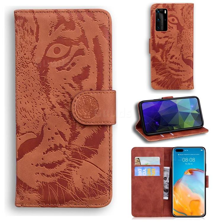 Intricate Embossing Tiger Face Leather Wallet Case for Huawei P40 Pro - Brown