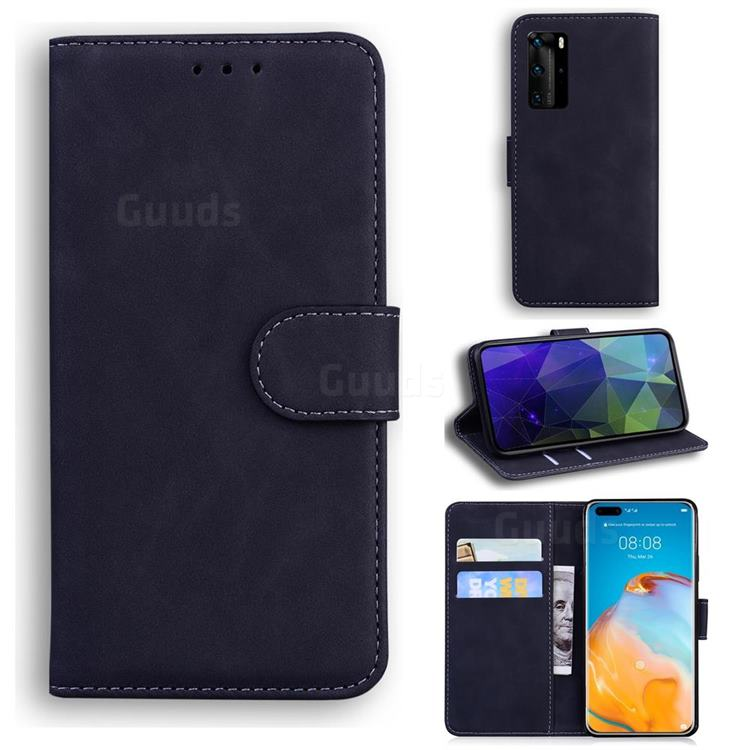 Retro Classic Skin Feel Leather Wallet Phone Case for Huawei P40 Pro - Black