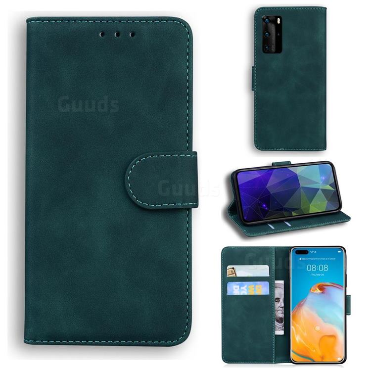 Retro Classic Skin Feel Leather Wallet Phone Case for Huawei P40 Pro - Green