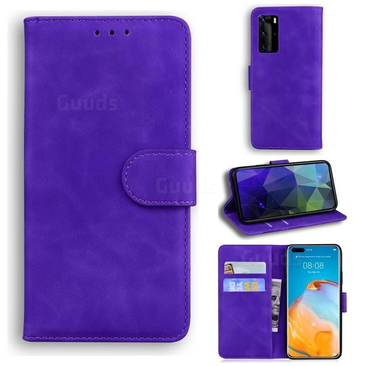 Retro Classic Skin Feel Leather Wallet Phone Case for Huawei P40 Pro - Purple
