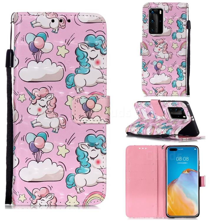 Angel Pony 3D Painted Leather Wallet Case for Huawei P40 Pro
