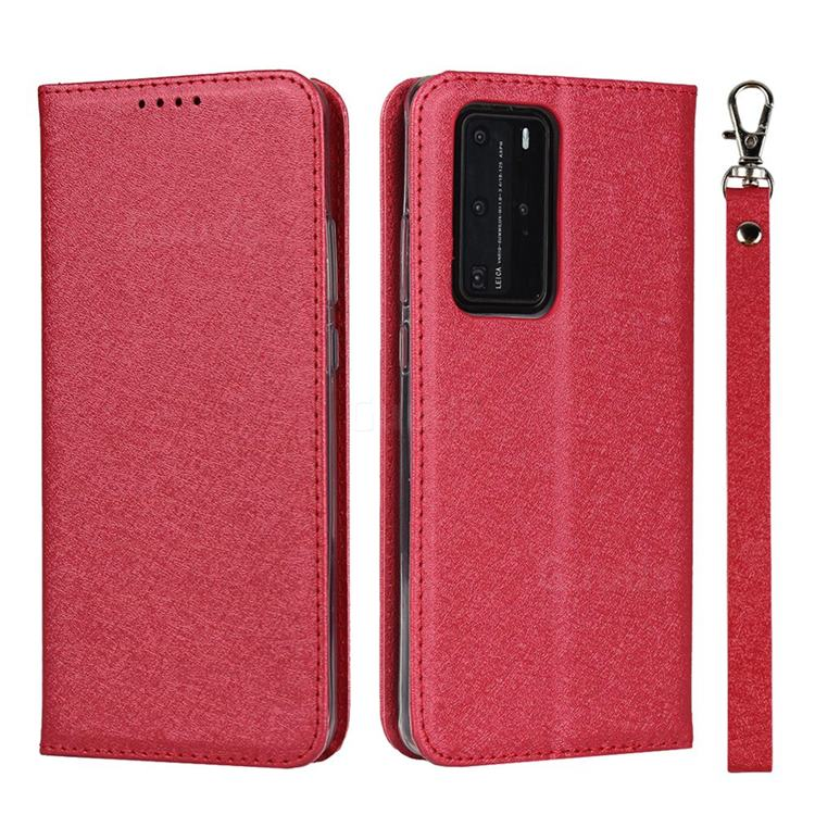 Ultra Slim Magnetic Automatic Suction Silk Lanyard Leather Flip Cover for Huawei P40 Pro - Red
