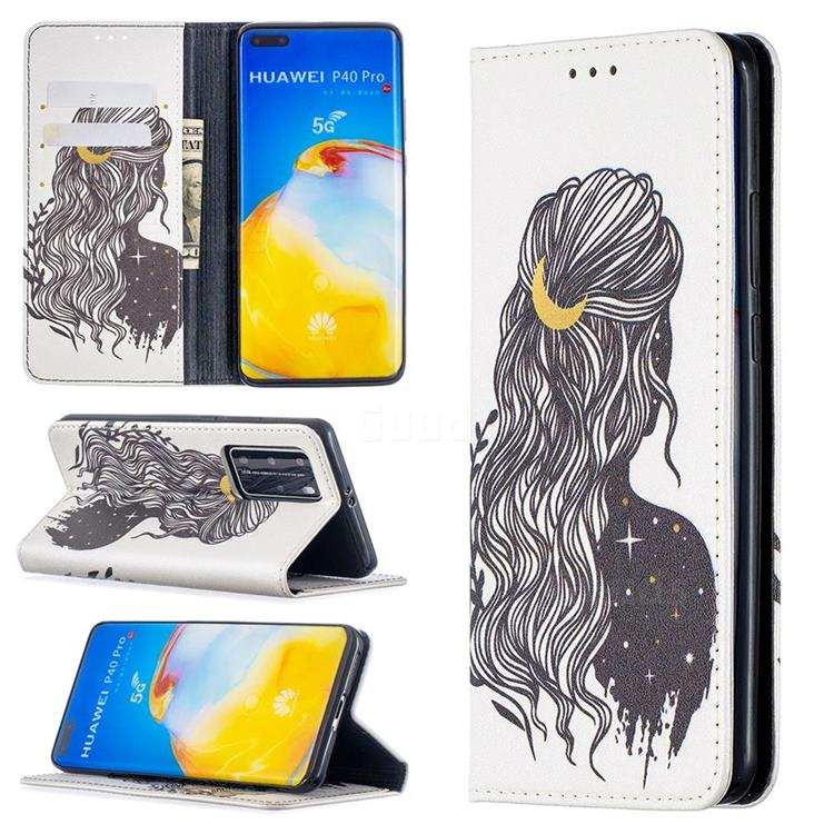 Girl with Long Hair Slim Magnetic Attraction Wallet Flip Cover for Huawei P40 Pro