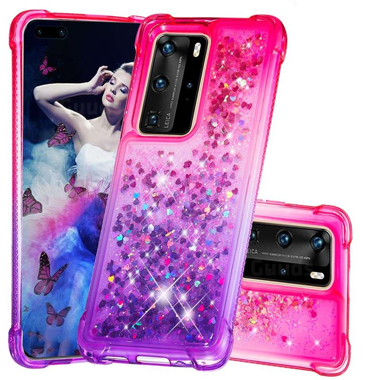 Rainbow Gradient Liquid Glitter Quicksand Sequins Phone Case for Huawei P40 Pro - Pink Purple