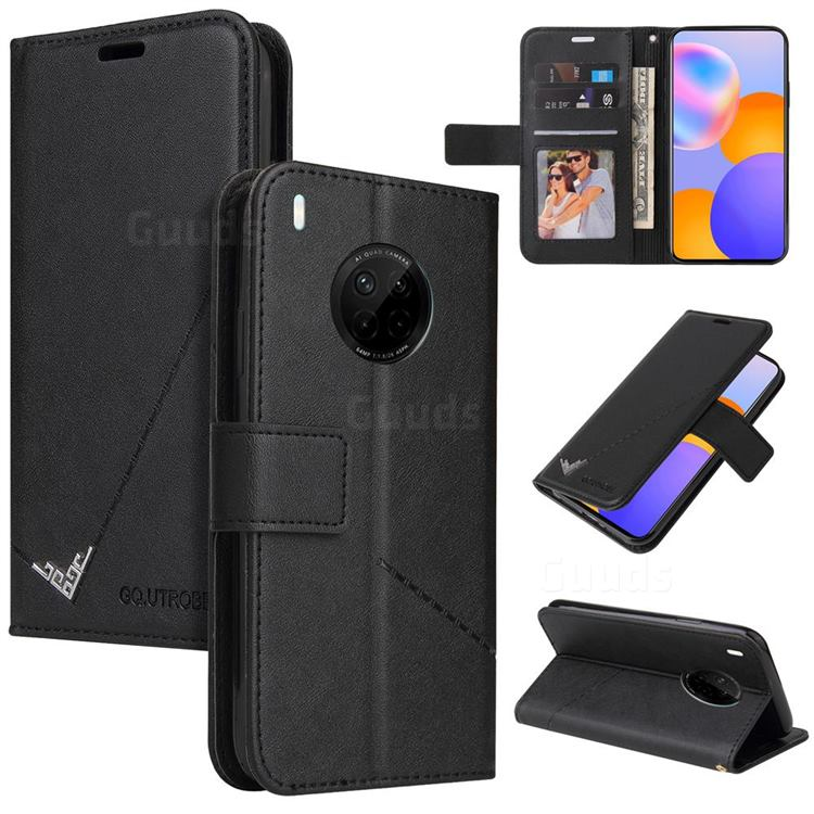 GQ.UTROBE Right Angle Silver Pendant Leather Wallet Phone Case for Huawei P40 Pro - Black