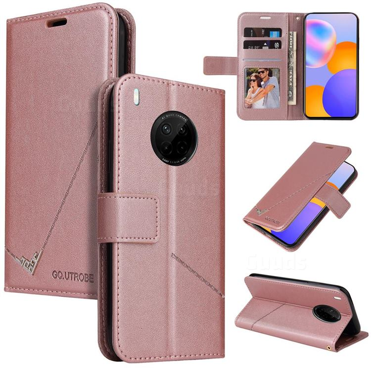 GQ.UTROBE Right Angle Silver Pendant Leather Wallet Phone Case for Huawei P40 Pro - Rose Gold