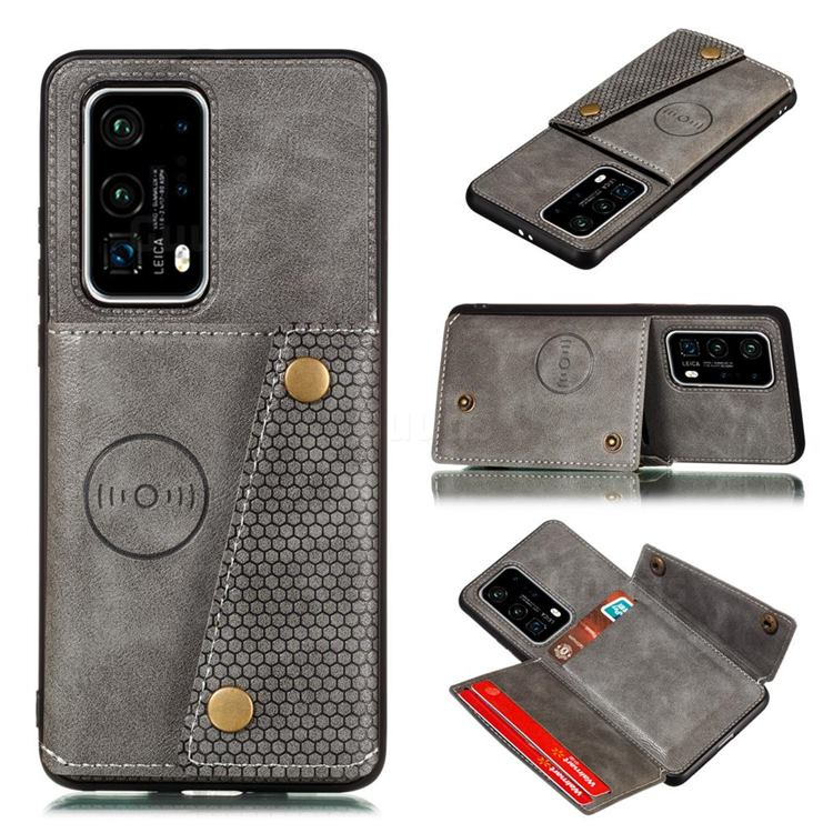 Retro Multifunction Card Slots Stand Leather Coated Phone Back Cover for Huawei P40 Pro - Gray