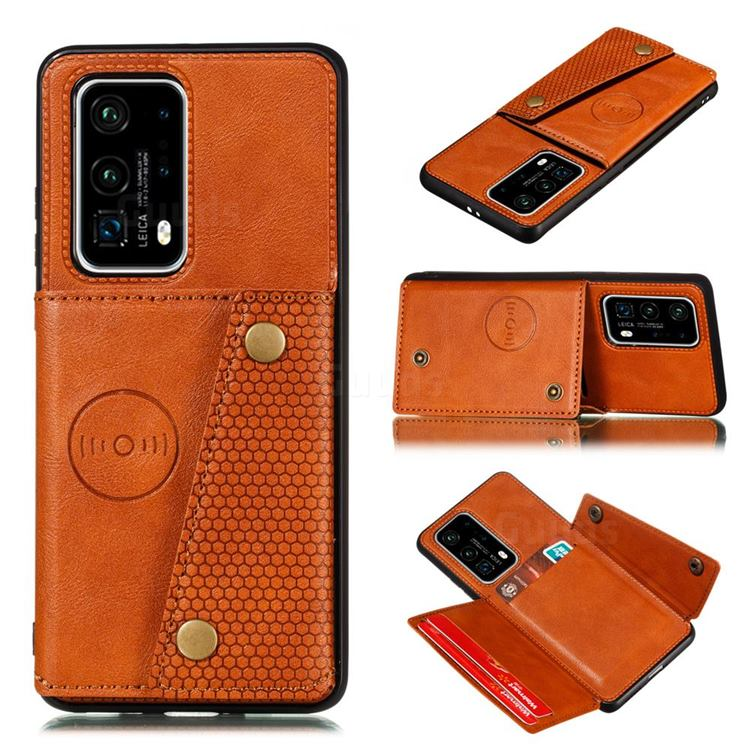 Retro Multifunction Card Slots Stand Leather Coated Phone Back Cover for Huawei P40 Pro - Brown