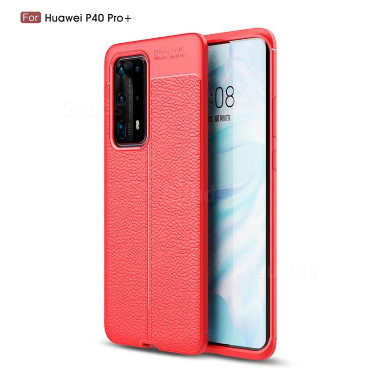 Luxury Auto Focus Litchi Texture Silicone TPU Back Cover for Huawei P40 Pro+ / P40 Plus 5G - Red
