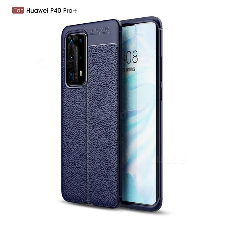 Luxury Auto Focus Litchi Texture Silicone TPU Back Cover for Huawei P40 Pro+ / P40 Plus 5G - Dark Blue