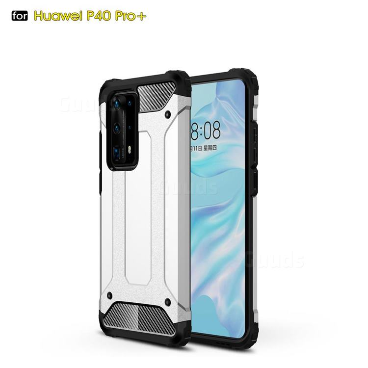 King Kong Armor Premium Shockproof Dual Layer Rugged Hard Cover for Huawei P40 Pro+ / P40 Plus 5G - White
