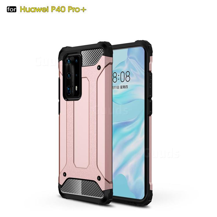 King Kong Armor Premium Shockproof Dual Layer Rugged Hard Cover for Huawei P40 Pro+ / P40 Plus 5G - Rose Gold