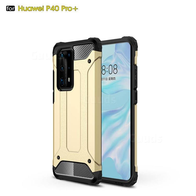 King Kong Armor Premium Shockproof Dual Layer Rugged Hard Cover for Huawei P40 Pro+ / P40 Plus 5G - Champagne Gold