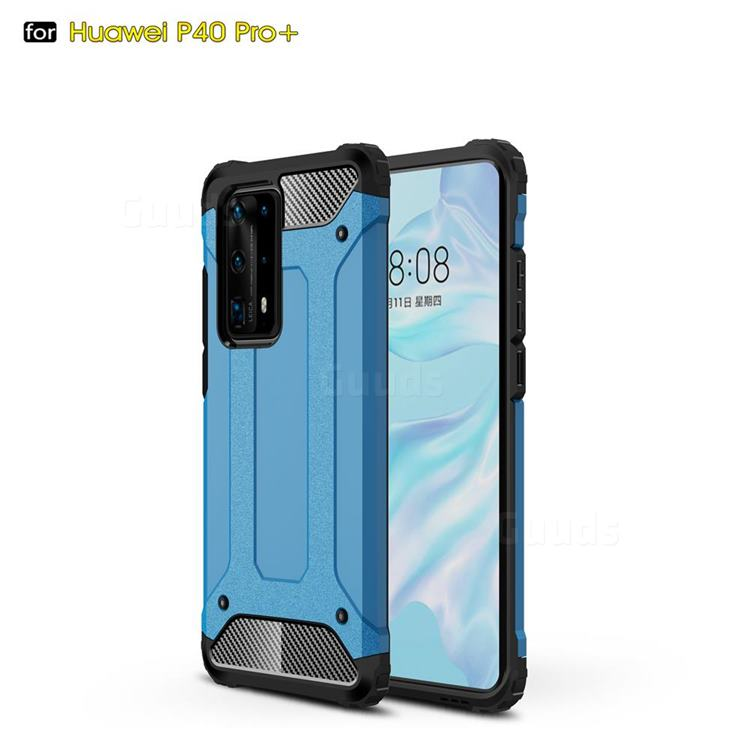 King Kong Armor Premium Shockproof Dual Layer Rugged Hard Cover for Huawei P40 Pro+ / P40 Plus 5G - Sky Blue
