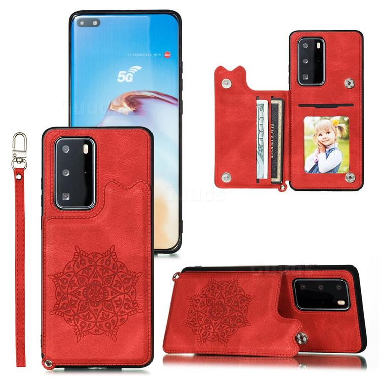 Luxury Mandala Multi-function Magnetic Card Slots Stand Leather Back Cover for Huawei P40 Pro+ / P40 Plus 5G - Red