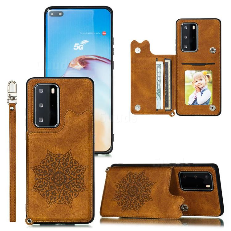 Luxury Mandala Multi-function Magnetic Card Slots Stand Leather Back Cover for Huawei P40 Pro+ / P40 Plus 5G - Brown