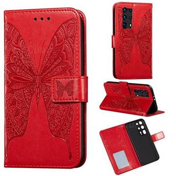 Intricate Embossing Vivid Butterfly Leather Wallet Case for Huawei P40 Pro+ / P40 Plus 5G - Red
