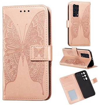Intricate Embossing Vivid Butterfly Leather Wallet Case for Huawei P40 Pro+ / P40 Plus 5G - Rose Gold