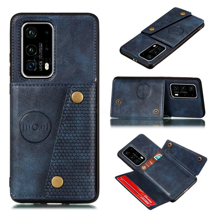 Retro Multifunction Card Slots Stand Leather Coated Phone Back Cover for Huawei P40 Pro+ / P40 Plus 5G - Blue