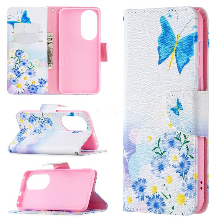 Butterflies Flowers Leather Wallet Case for Huawei P50