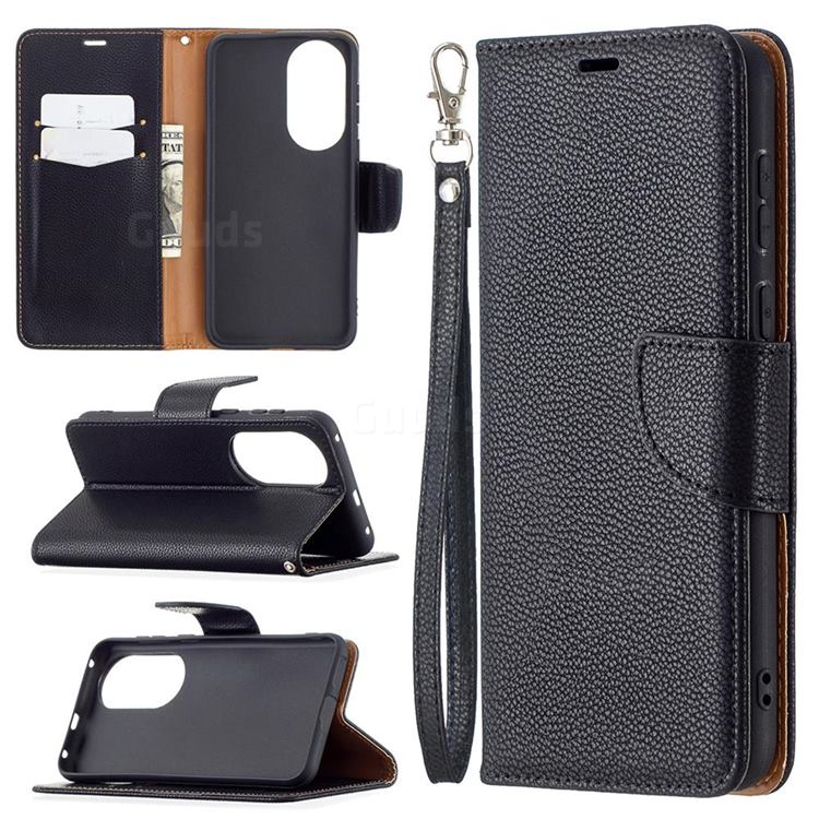 Classic Luxury Litchi Leather Phone Wallet Case for Huawei P50 - Black