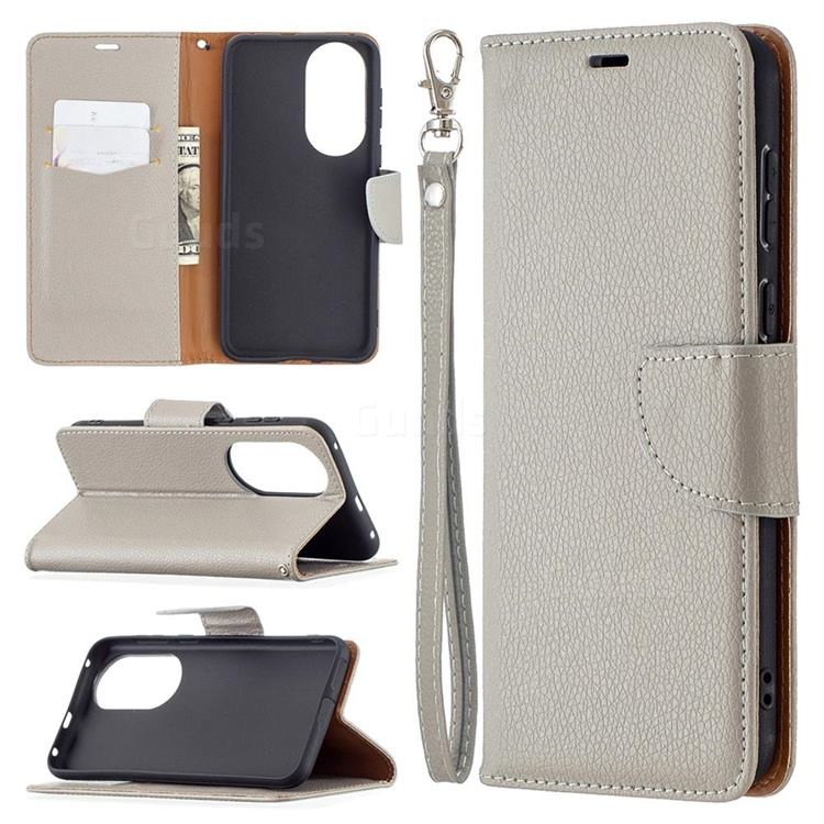 Classic Luxury Litchi Leather Phone Wallet Case for Huawei P50 - Gray