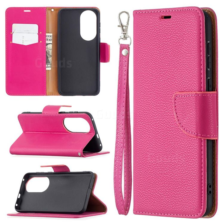 Classic Luxury Litchi Leather Phone Wallet Case for Huawei P50 - Rose