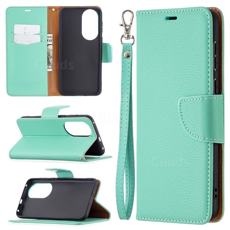 Classic Luxury Litchi Leather Phone Wallet Case for Huawei P50 - Green