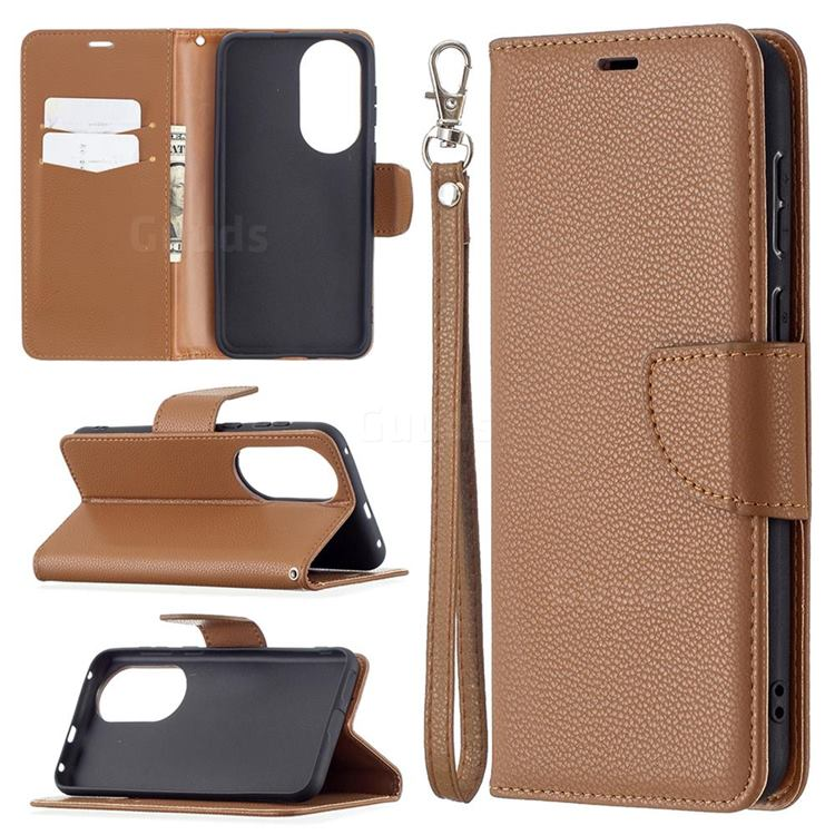Classic Luxury Litchi Leather Phone Wallet Case for Huawei P50 - Brown