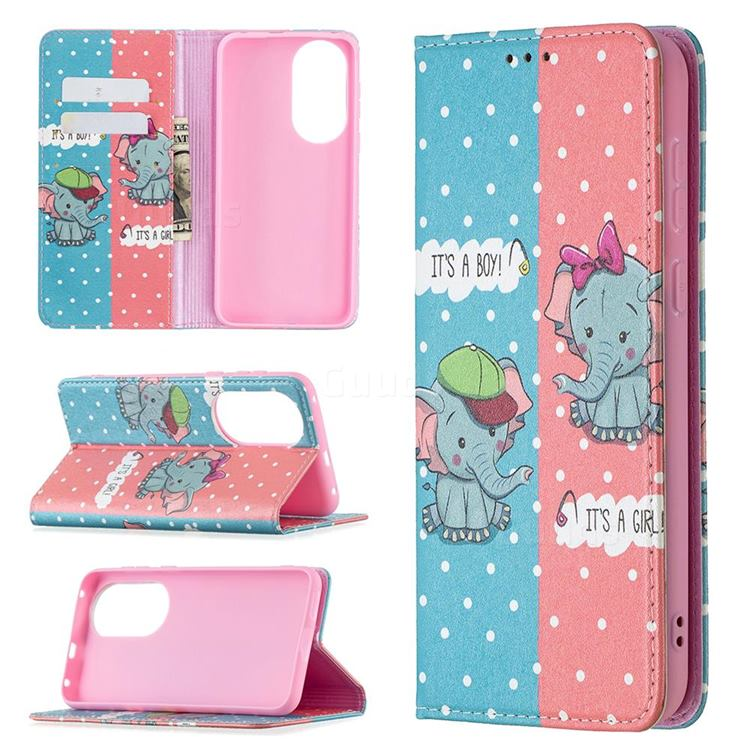 Elephant Boy and Girl Slim Magnetic Attraction Wallet Flip Cover for Huawei P50