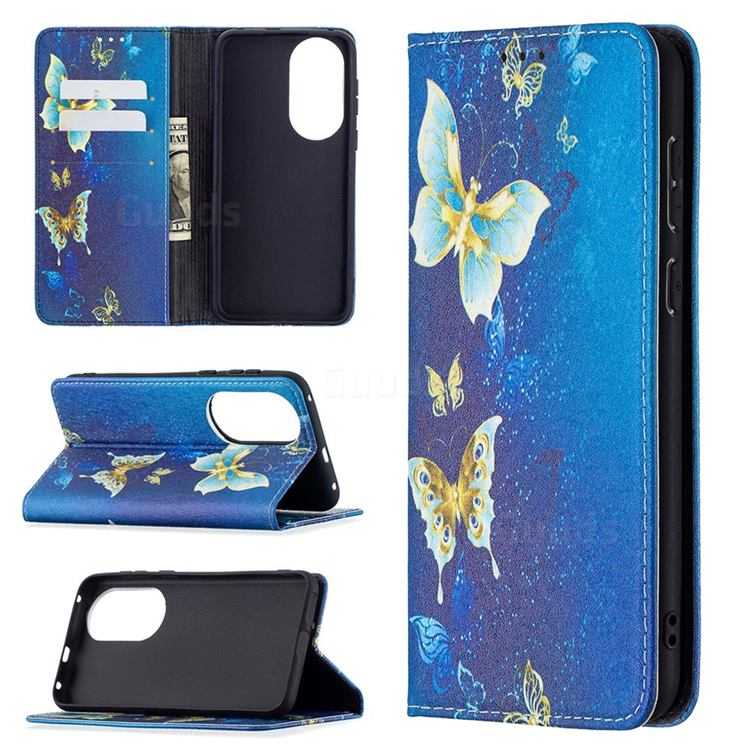 Gold Butterfly Slim Magnetic Attraction Wallet Flip Cover for Huawei P50
