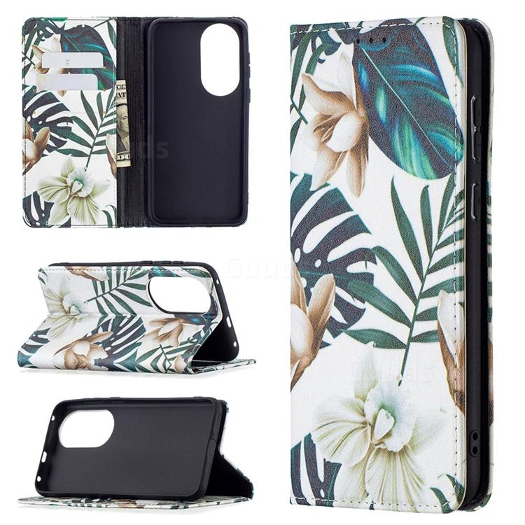 Flower Leaf Slim Magnetic Attraction Wallet Flip Cover for Huawei P50