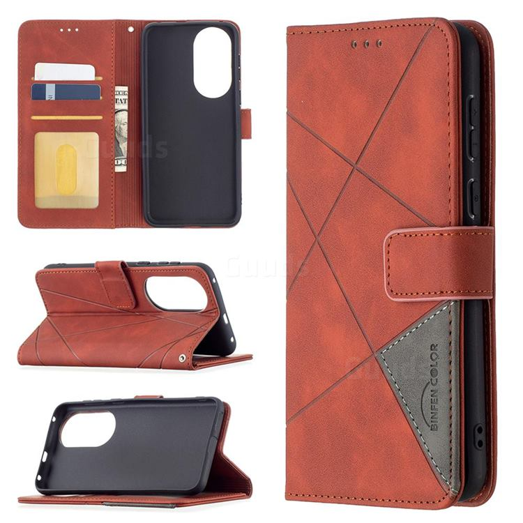 Binfen Color BF05 Prismatic Slim Wallet Flip Cover for Huawei P50 - Brown